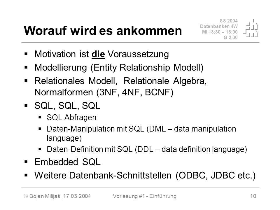 SS 2004 Datenbanken 4W Mi 13:30 – 15:00 G 2.30 © Bojan Milijaš, 17.03.2004Vorlesung #1 - Einführung10 Worauf wird es ankommen Motivation ist die Vorau