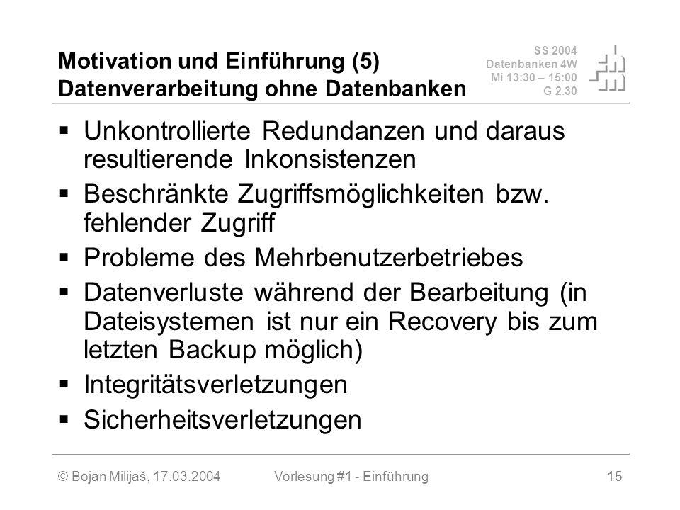 SS 2004 Datenbanken 4W Mi 13:30 – 15:00 G 2.30 © Bojan Milijaš, 17.03.2004Vorlesung #1 - Einführung15 Motivation und Einführung (5) Datenverarbeitung