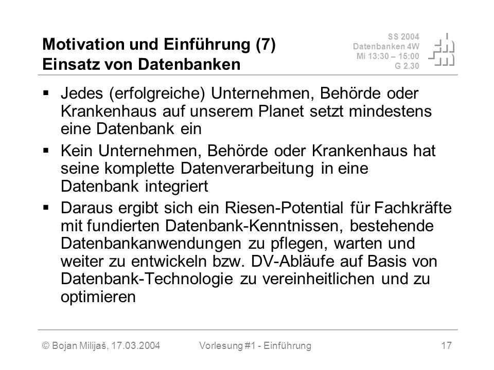 SS 2004 Datenbanken 4W Mi 13:30 – 15:00 G 2.30 © Bojan Milijaš, 17.03.2004Vorlesung #1 - Einführung17 Motivation und Einführung (7) Einsatz von Datenb