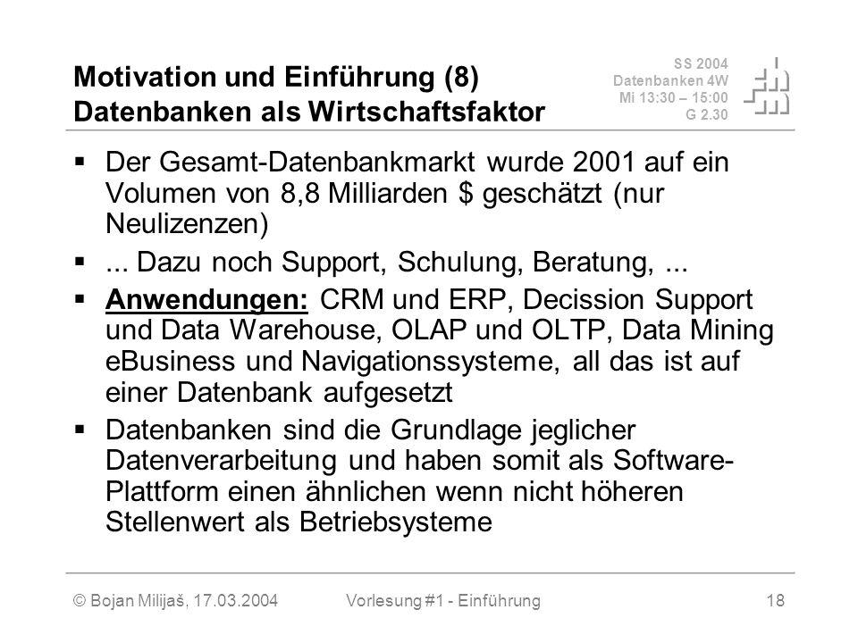 SS 2004 Datenbanken 4W Mi 13:30 – 15:00 G 2.30 © Bojan Milijaš, 17.03.2004Vorlesung #1 - Einführung18 Motivation und Einführung (8) Datenbanken als Wi