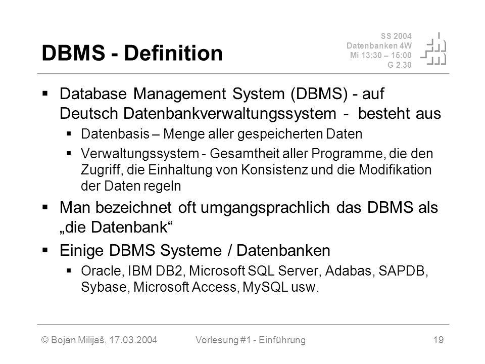 SS 2004 Datenbanken 4W Mi 13:30 – 15:00 G 2.30 © Bojan Milijaš, 17.03.2004Vorlesung #1 - Einführung19 DBMS - Definition Database Management System (DB
