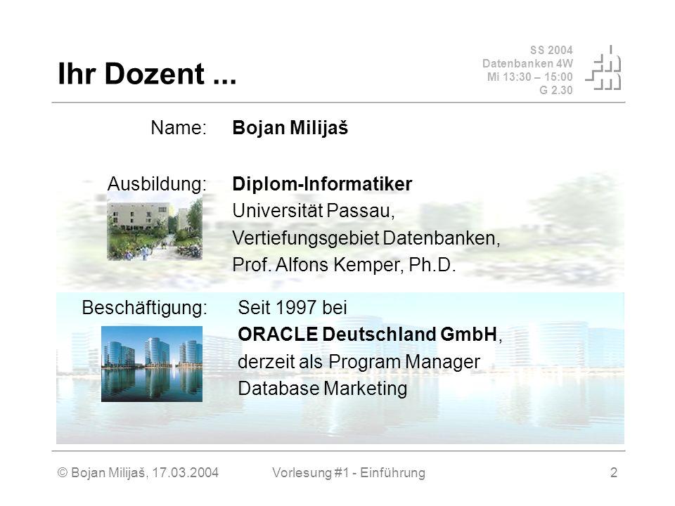 SS 2004 Datenbanken 4W Mi 13:30 – 15:00 G 2.30 © Bojan Milijaš, 17.03.2004Vorlesung #1 - Einführung2 Ihr Dozent... Name:Bojan Milijaš Ausbildung:Diplo