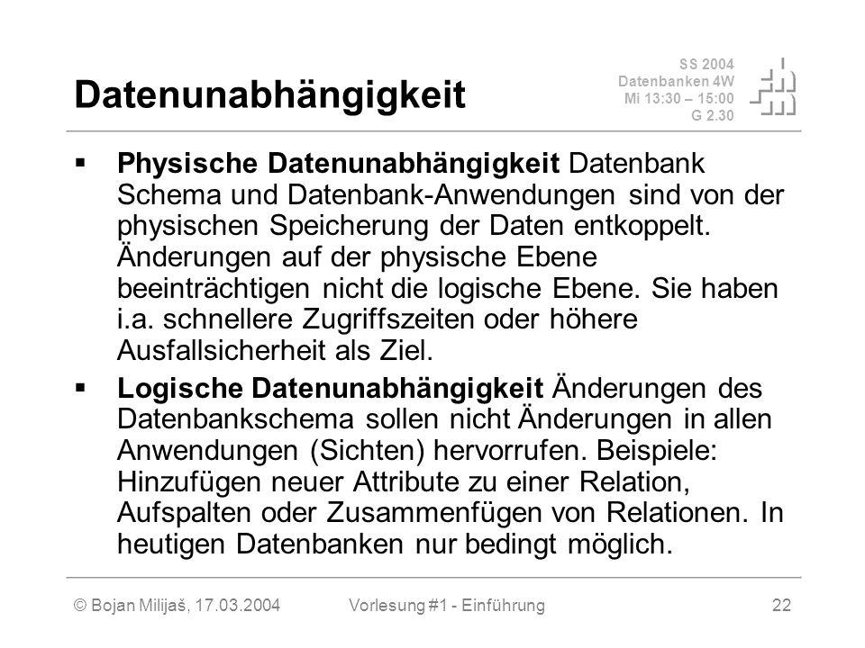 SS 2004 Datenbanken 4W Mi 13:30 – 15:00 G 2.30 © Bojan Milijaš, 17.03.2004Vorlesung #1 - Einführung22 Datenunabhängigkeit Physische Datenunabhängigkei