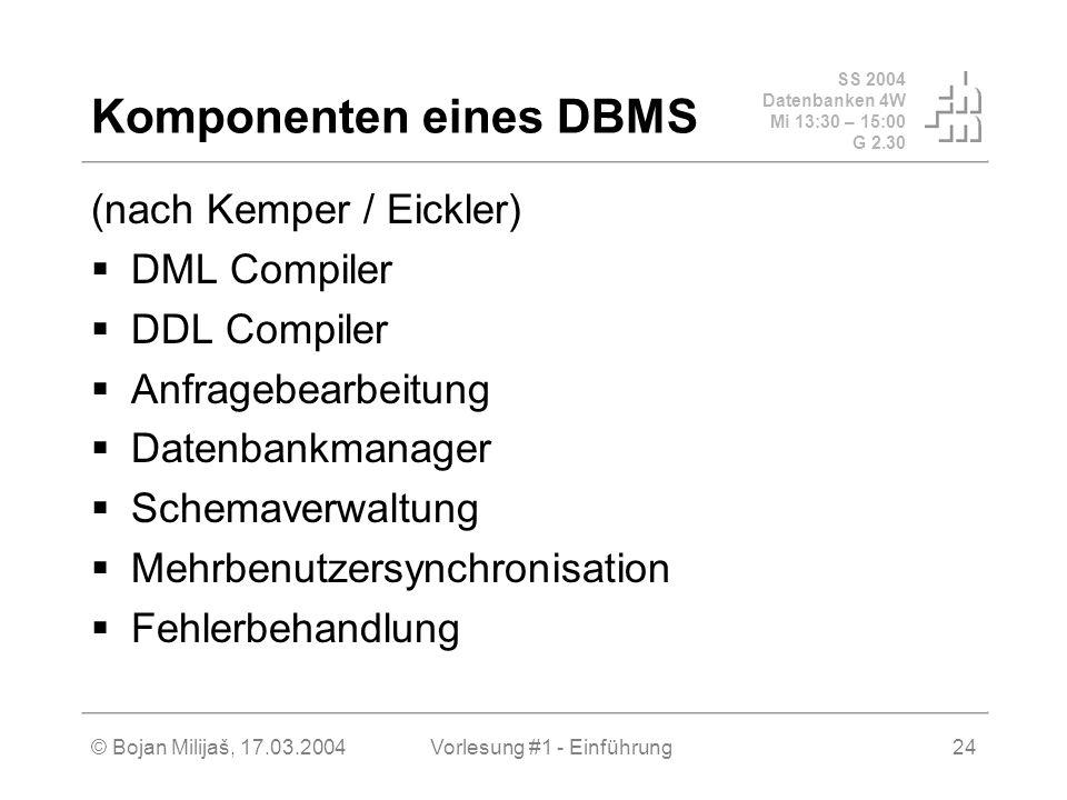SS 2004 Datenbanken 4W Mi 13:30 – 15:00 G 2.30 © Bojan Milijaš, 17.03.2004Vorlesung #1 - Einführung24 Komponenten eines DBMS (nach Kemper / Eickler) D