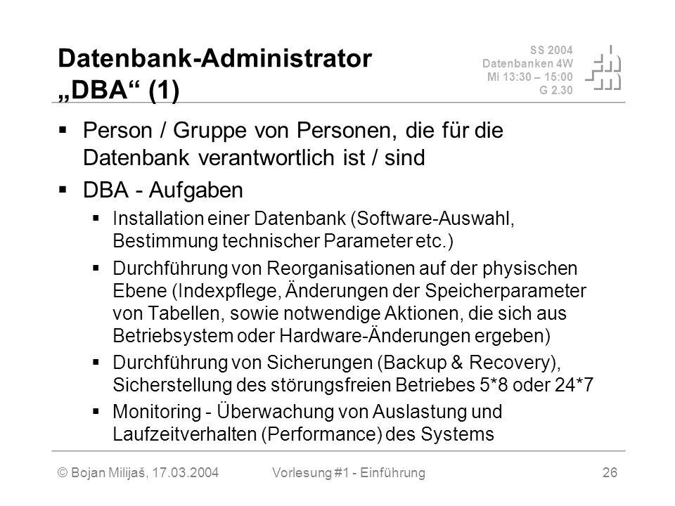 SS 2004 Datenbanken 4W Mi 13:30 – 15:00 G 2.30 © Bojan Milijaš, 17.03.2004Vorlesung #1 - Einführung26 Datenbank-Administrator DBA (1) Person / Gruppe