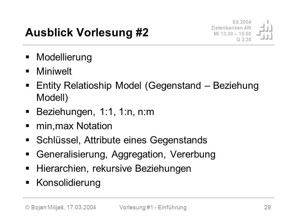 SS 2004 Datenbanken 4W Mi 13:30 – 15:00 G 2.30 © Bojan Milijaš, 17.03.2004Vorlesung #1 - Einführung29 Ausblick Vorlesung #2 Modellierung Miniwelt Enti