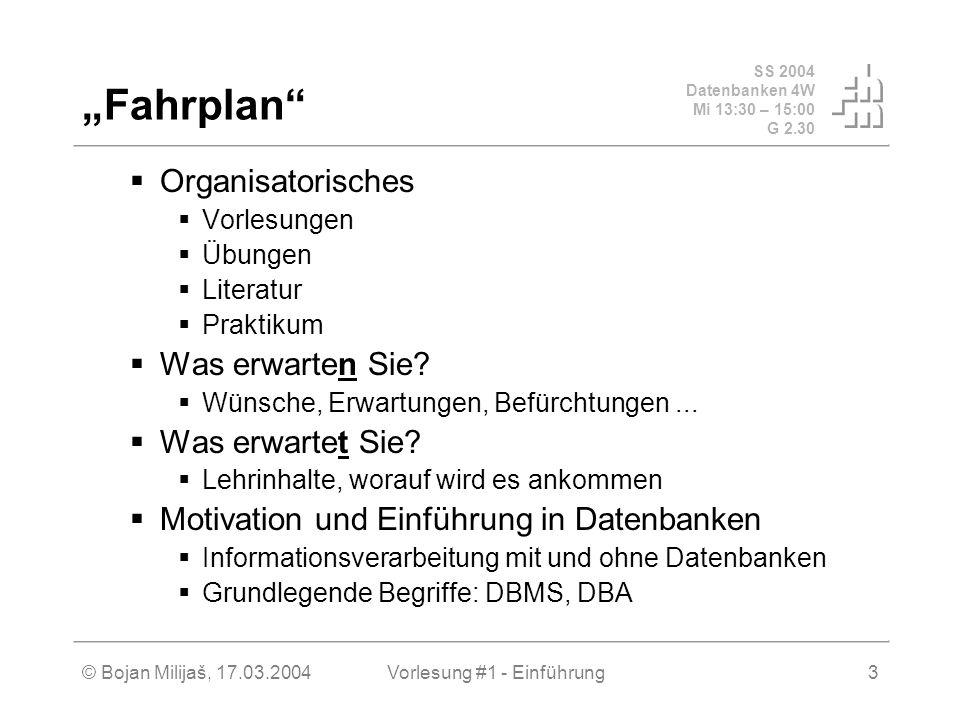 SS 2004 Datenbanken 4W Mi 13:30 – 15:00 G 2.30 © Bojan Milijaš, 17.03.2004Vorlesung #1 - Einführung4 Vorlesung Einteilung Besprechung der Übungsaufgaben Fahrplan (kann u.U.
