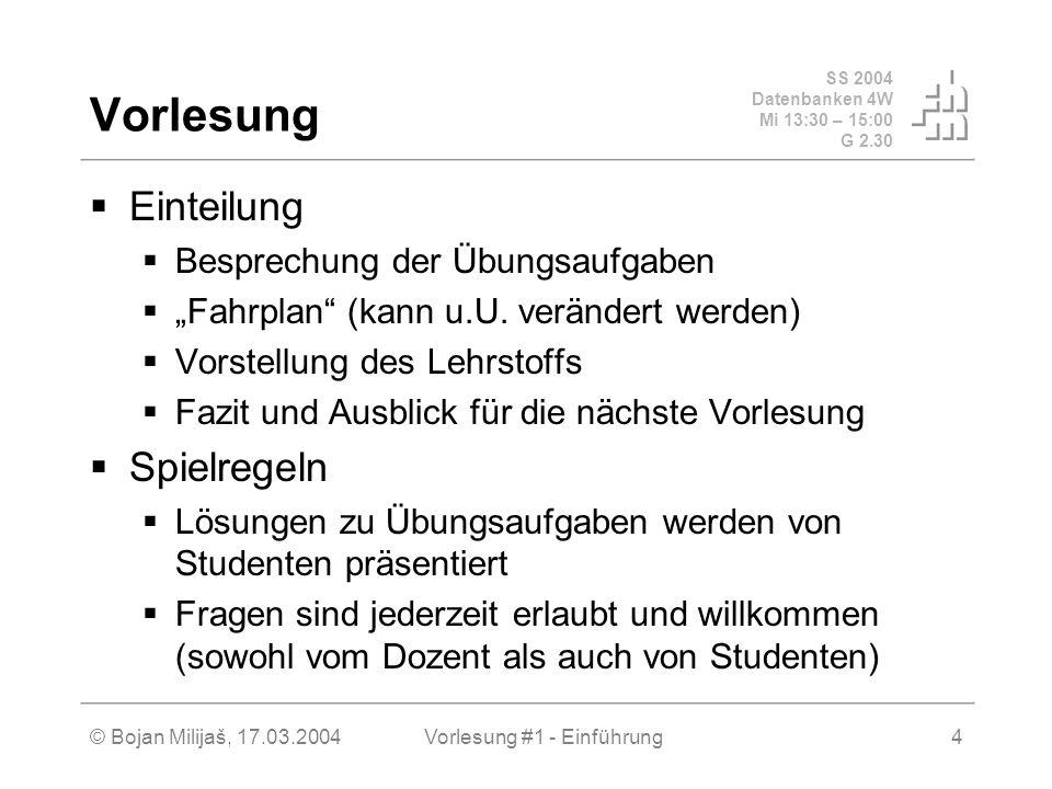 SS 2004 Datenbanken 4W Mi 13:30 – 15:00 G 2.30 © Bojan Milijaš, 17.03.2004Vorlesung #1 - Einführung4 Vorlesung Einteilung Besprechung der Übungsaufgab