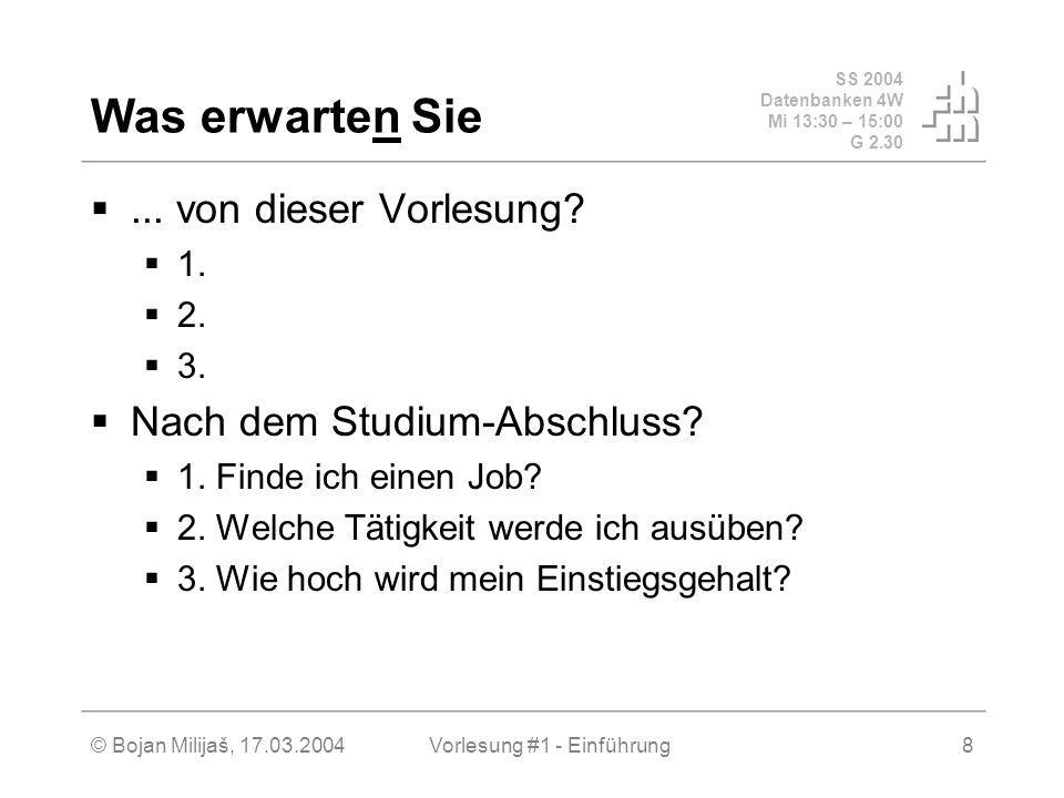 SS 2004 Datenbanken 4W Mi 13:30 – 15:00 G 2.30 © Bojan Milijaš, 17.03.2004Vorlesung #1 - Einführung8 Was erwarten Sie... von dieser Vorlesung? 1. 2. 3