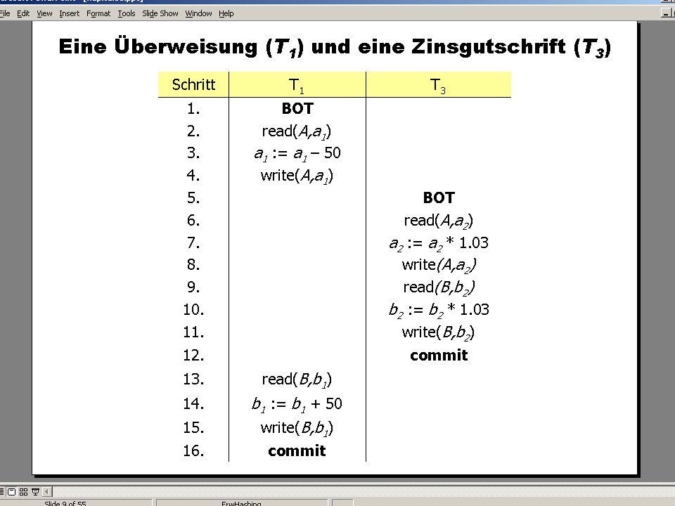 WS 2007/08 Datenbanksysteme Mi 17:00 – 18:30 R 1.007 © Bojan Milijaš, 12.12.2007Vorlesung #12 - Mehrbenutzersynchronisation17