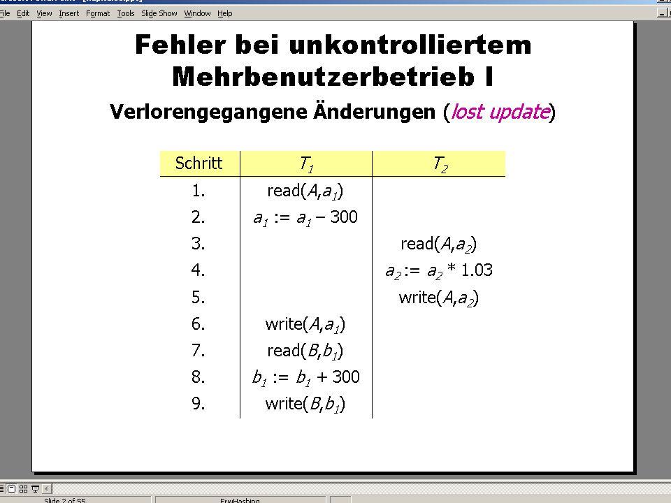 WS 2007/08 Datenbanksysteme Mi 17:00 – 18:30 R 1.007 © Bojan Milijaš, 12.12.2007Vorlesung #12 - Mehrbenutzersynchronisation8