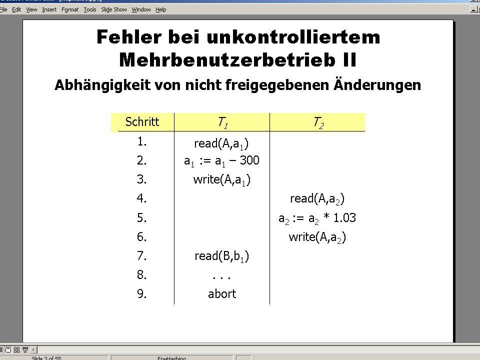 WS 2007/08 Datenbanksysteme Mi 17:00 – 18:30 R 1.007 © Bojan Milijaš, 12.12.2007Vorlesung #12 - Mehrbenutzersynchronisation9