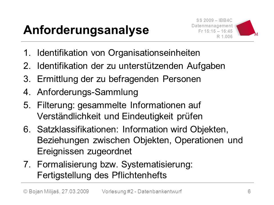 SS 2009 – IBB4C Datenmanagement Fr 15:15 – 16:45 R 1.006 © Bojan Milijaš, 27.03.2009Vorlesung #2 - Datenbankentwurf6 Anforderungsanalyse 1.Identifikation von Organisationseinheiten 2.Identifikation der zu unterstützenden Aufgaben 3.Ermittlung der zu befragenden Personen 4.Anforderungs-Sammlung 5.Filterung: gesammelte Informationen auf Verständlichkeit und Eindeutigkeit prüfen 6.Satzklassifikationen: Information wird Objekten, Beziehungen zwischen Objekten, Operationen und Ereignissen zugeordnet 7.Formalisierung bzw.