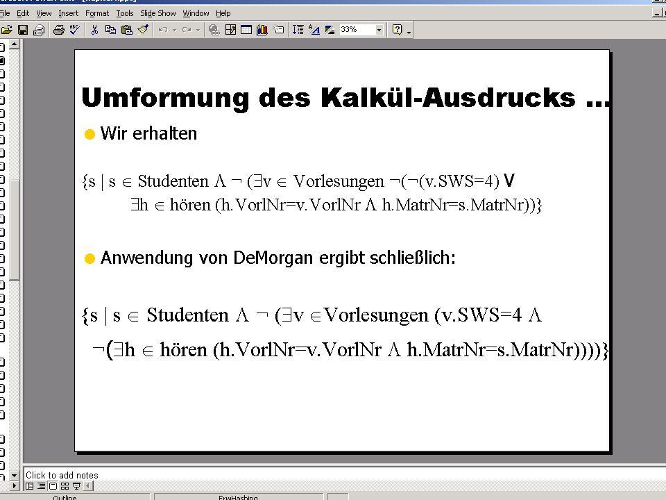 SS 2004 Datenbanken 4W Mi 13:30 – 15:00 G 2.30 © Bojan Milijaš, 28.04.2004Vorlesung #7 - SQL (Teil 2)23