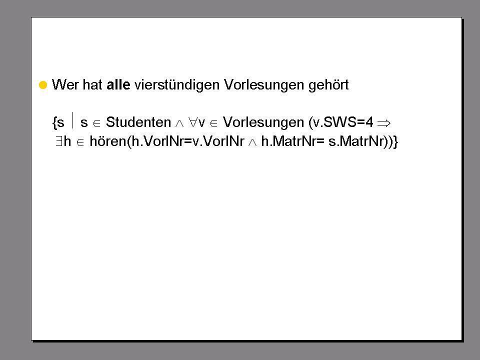 WS 2007/08 Datenbanksysteme Mi 17:00 – 18:30 R 1.007 © Bojan Milijaš, 24.10.2007Vorlesung #3 - Relationale Anfragesprachen23