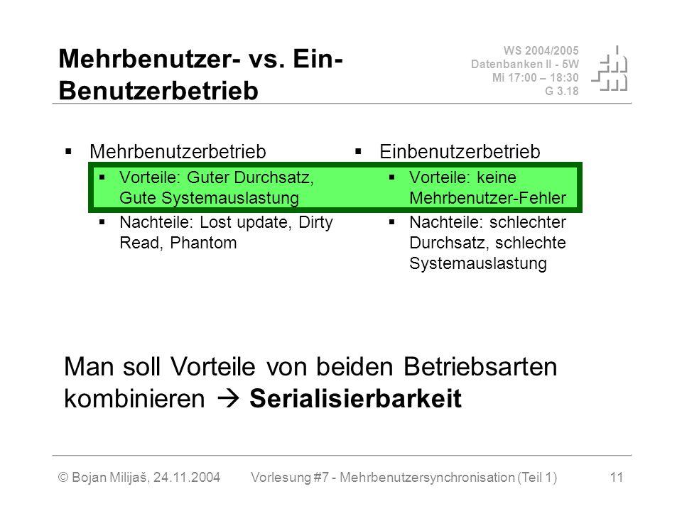 WS 2004/2005 Datenbanken II - 5W Mi 17:00 – 18:30 G 3.18 © Bojan Milijaš, 24.11.2004Vorlesung #7 - Mehrbenutzersynchronisation (Teil 1)11 Mehrbenutzer- vs.