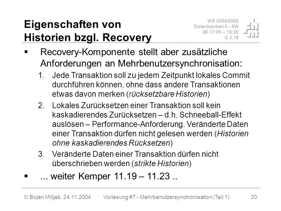 WS 2004/2005 Datenbanken II - 5W Mi 17:00 – 18:30 G 3.18 © Bojan Milijaš, 24.11.2004Vorlesung #7 - Mehrbenutzersynchronisation (Teil 1)20 Eigenschaften von Historien bzgl.