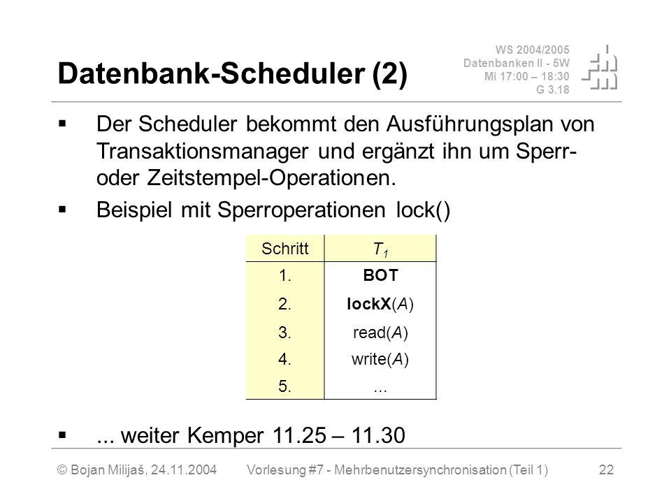 WS 2004/2005 Datenbanken II - 5W Mi 17:00 – 18:30 G 3.18 © Bojan Milijaš, 24.11.2004Vorlesung #7 - Mehrbenutzersynchronisation (Teil 1)22 Datenbank-Scheduler (2) Der Scheduler bekommt den Ausführungsplan von Transaktionsmanager und ergänzt ihn um Sperr- oder Zeitstempel-Operationen.