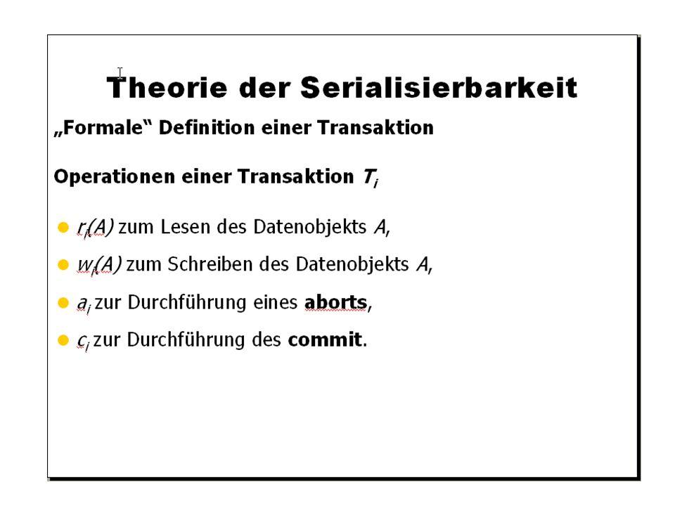 WS 2009/10 Datenbanksysteme Fr 15:15 – 16:45 R 0.006 © Bojan Milijaš, 15.01.2010Vorlesung #12 - Mehrbenutzersynchronisation19