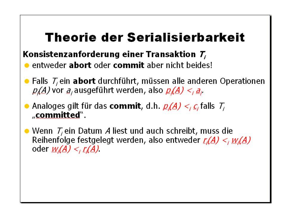 WS 2009/10 Datenbanksysteme Fr 15:15 – 16:45 R 0.006 © Bojan Milijaš, 15.01.2010Vorlesung #12 - Mehrbenutzersynchronisation20