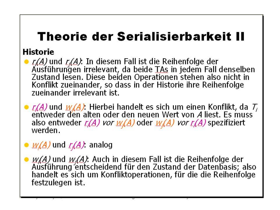 WS 2009/10 Datenbanksysteme Fr 15:15 – 16:45 R 0.006 © Bojan Milijaš, 15.01.2010Vorlesung #12 - Mehrbenutzersynchronisation21