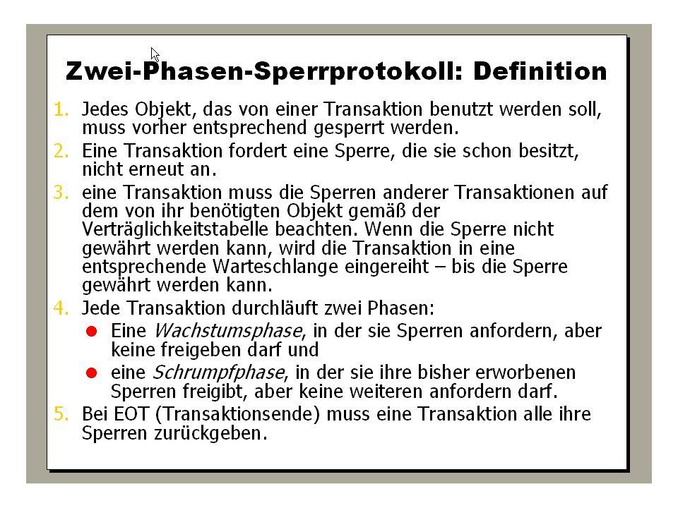 WS 2009/10 Datenbanksysteme Fr 15:15 – 16:45 R 0.006 © Bojan Milijaš, 15.01.2010Vorlesung #12 - Mehrbenutzersynchronisation39