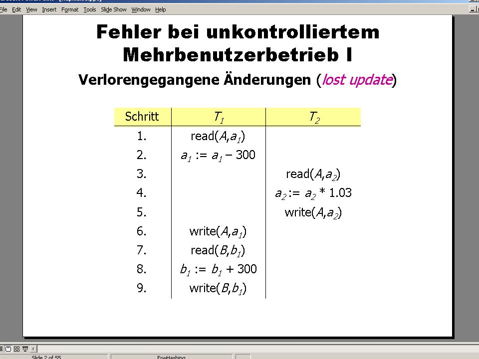 WS 2009/10 Datenbanksysteme Fr 15:15 – 16:45 R 0.006 © Bojan Milijaš, 15.01.2010Vorlesung #12 - Mehrbenutzersynchronisation8