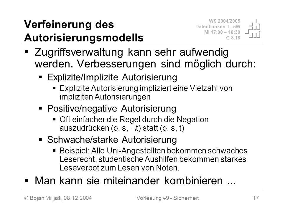 WS 2004/2005 Datenbanken II - 5W Mi 17:00 – 18:30 G 3.18 © Bojan Milijaš, 08.12.2004Vorlesung #9 - Sicherheit17 Verfeinerung des Autorisierungsmodells Zugriffsverwaltung kann sehr aufwendig werden.