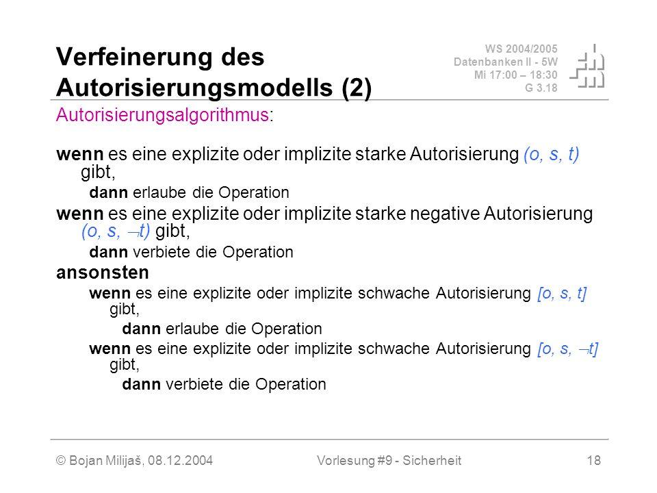WS 2004/2005 Datenbanken II - 5W Mi 17:00 – 18:30 G 3.18 © Bojan Milijaš, 08.12.2004Vorlesung #9 - Sicherheit18 Verfeinerung des Autorisierungsmodells (2) Autorisierungsalgorithmus: wenn es eine explizite oder implizite starke Autorisierung (o, s, t) gibt, dann erlaube die Operation wenn es eine explizite oder implizite starke negative Autorisierung (o, s, t) gibt, dann verbiete die Operation ansonsten wenn es eine explizite oder implizite schwache Autorisierung [o, s, t] gibt, dann erlaube die Operation wenn es eine explizite oder implizite schwache Autorisierung [o, s, t] gibt, dann verbiete die Operation
