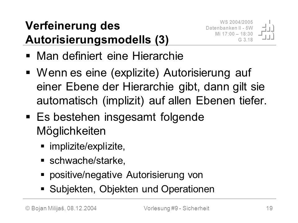 WS 2004/2005 Datenbanken II - 5W Mi 17:00 – 18:30 G 3.18 © Bojan Milijaš, 08.12.2004Vorlesung #9 - Sicherheit19 Verfeinerung des Autorisierungsmodells (3) Man definiert eine Hierarchie Wenn es eine (explizite) Autorisierung auf einer Ebene der Hierarchie gibt, dann gilt sie automatisch (implizit) auf allen Ebenen tiefer.