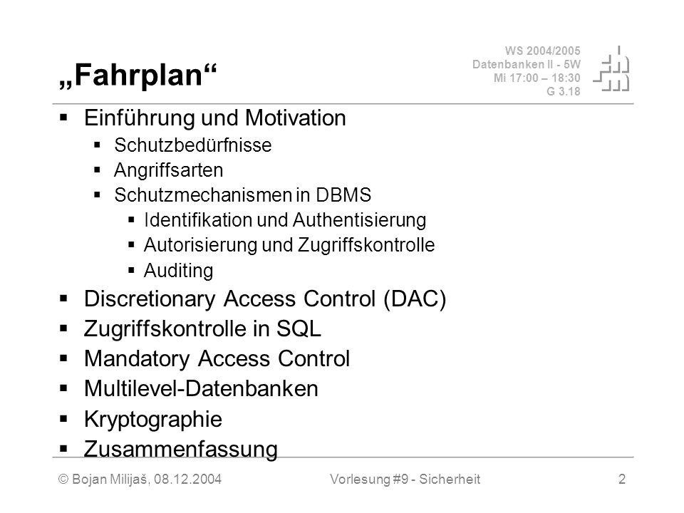 WS 2004/2005 Datenbanken II - 5W Mi 17:00 – 18:30 G 3.18 © Bojan Milijaš, 08.12.2004Vorlesung #9 - Sicherheit2 Fahrplan Einführung und Motivation Schu