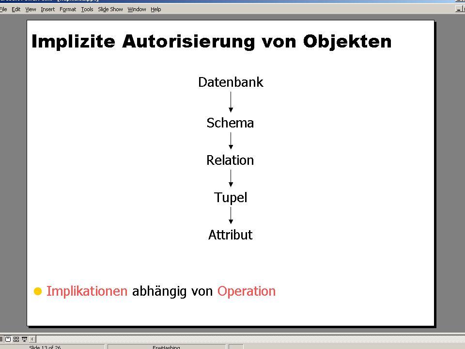 WS 2004/2005 Datenbanken II - 5W Mi 17:00 – 18:30 G 3.18 © Bojan Milijaš, 08.12.2004Vorlesung #9 - Sicherheit23