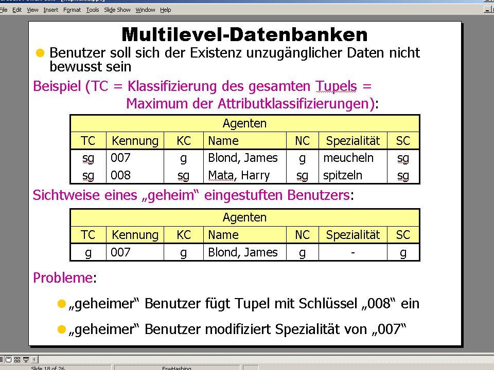 WS 2004/2005 Datenbanken II - 5W Mi 17:00 – 18:30 G 3.18 © Bojan Milijaš, 08.12.2004Vorlesung #9 - Sicherheit25 Multileveldatenbanken