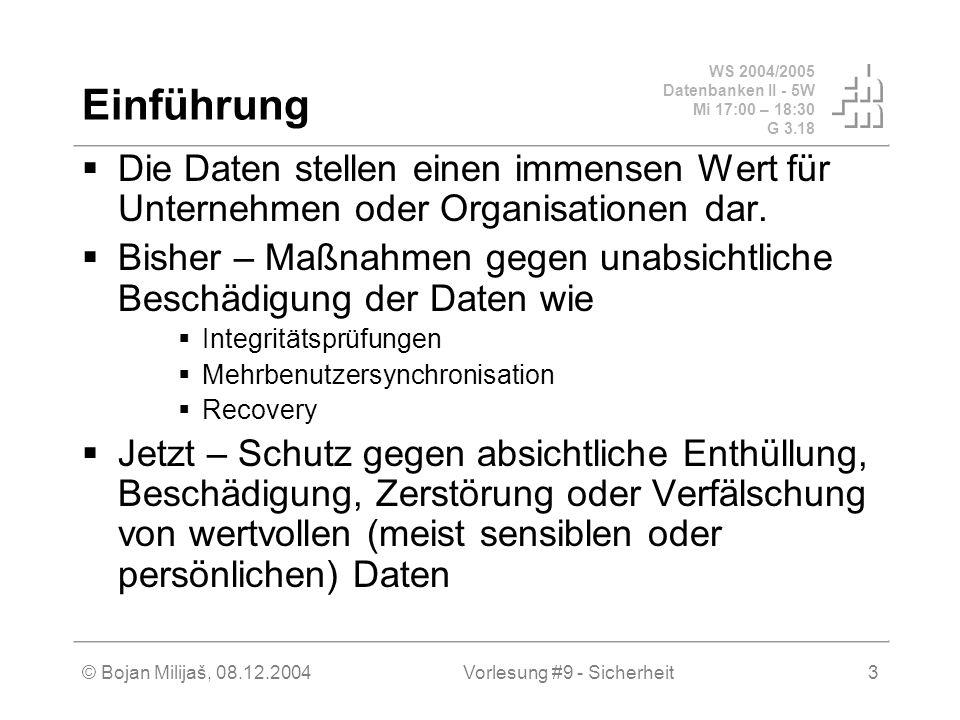 WS 2004/2005 Datenbanken II - 5W Mi 17:00 – 18:30 G 3.18 © Bojan Milijaš, 08.12.2004Vorlesung #9 - Sicherheit3 Einführung Die Daten stellen einen immensen Wert für Unternehmen oder Organisationen dar.