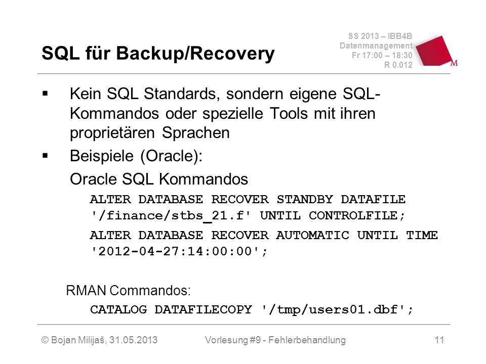 SS 2013 – IBB4B Datenmanagement Fr 17:00 – 18:30 R 0.012 © Bojan Milijaš, 31.05.2013Vorlesung #9 - Fehlerbehandlung11 SQL für Backup/Recovery Kein SQL