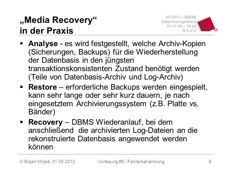 SS 2013 – IBB4B Datenmanagement Fr 17:00 – 18:30 R 0.012 © Bojan Milijaš, 31.05.2013Vorlesung #9 - Fehlerbehandlung8 Media Recovery in der Praxis Anal