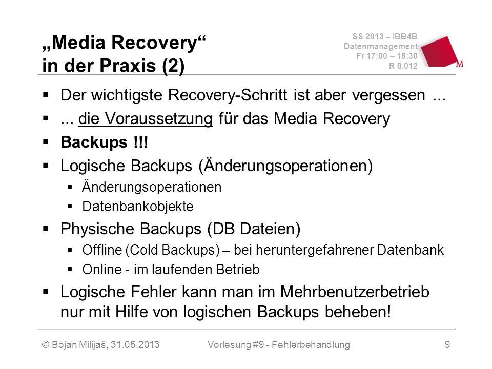 SS 2013 – IBB4B Datenmanagement Fr 17:00 – 18:30 R 0.012 © Bojan Milijaš, 31.05.2013Vorlesung #9 - Fehlerbehandlung9 Media Recovery in der Praxis (2)