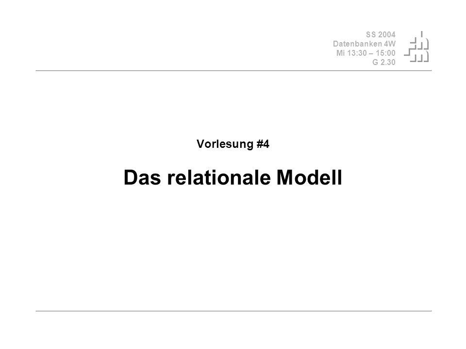 SS 2004 Datenbanken 4W Mi 13:30 – 15:00 G 2.30 Vorlesung #4 Das relationale Modell