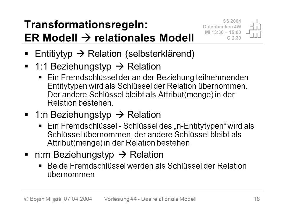 SS 2004 Datenbanken 4W Mi 13:30 – 15:00 G 2.30 © Bojan Milijaš, 07.04.2004Vorlesung #4 - Das relationale Modell18 Transformationsregeln: ER Modell relationales Modell Entitiytyp Relation (selbsterklärend) 1:1 Beziehungstyp Relation Ein Fremdschlüssel der an der Beziehung teilnehmenden Entitytypen wird als Schlüssel der Relation übernommen.