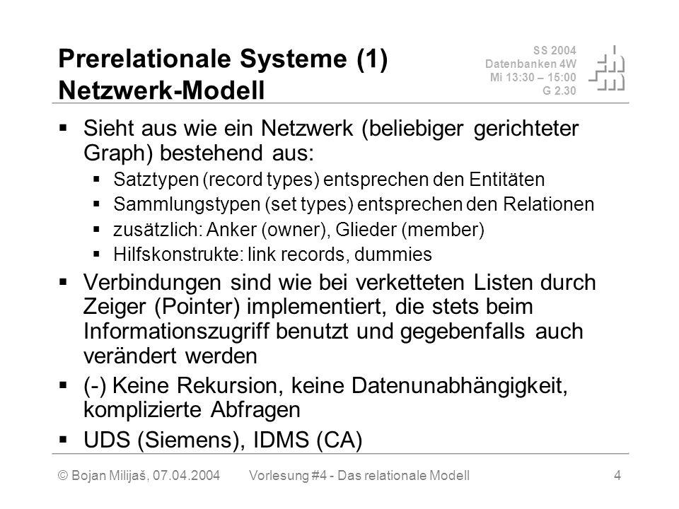 SS 2004 Datenbanken 4W Mi 13:30 – 15:00 G 2.30 © Bojan Milijaš, 07.04.2004Vorlesung #4 - Das relationale Modell4 Prerelationale Systeme (1) Netzwerk-Modell Sieht aus wie ein Netzwerk (beliebiger gerichteter Graph) bestehend aus: Satztypen (record types) entsprechen den Entitäten Sammlungstypen (set types) entsprechen den Relationen zusätzlich: Anker (owner), Glieder (member) Hilfskonstrukte: link records, dummies Verbindungen sind wie bei verketteten Listen durch Zeiger (Pointer) implementiert, die stets beim Informationszugriff benutzt und gegebenfalls auch verändert werden (-) Keine Rekursion, keine Datenunabhängigkeit, komplizierte Abfragen UDS (Siemens), IDMS (CA)