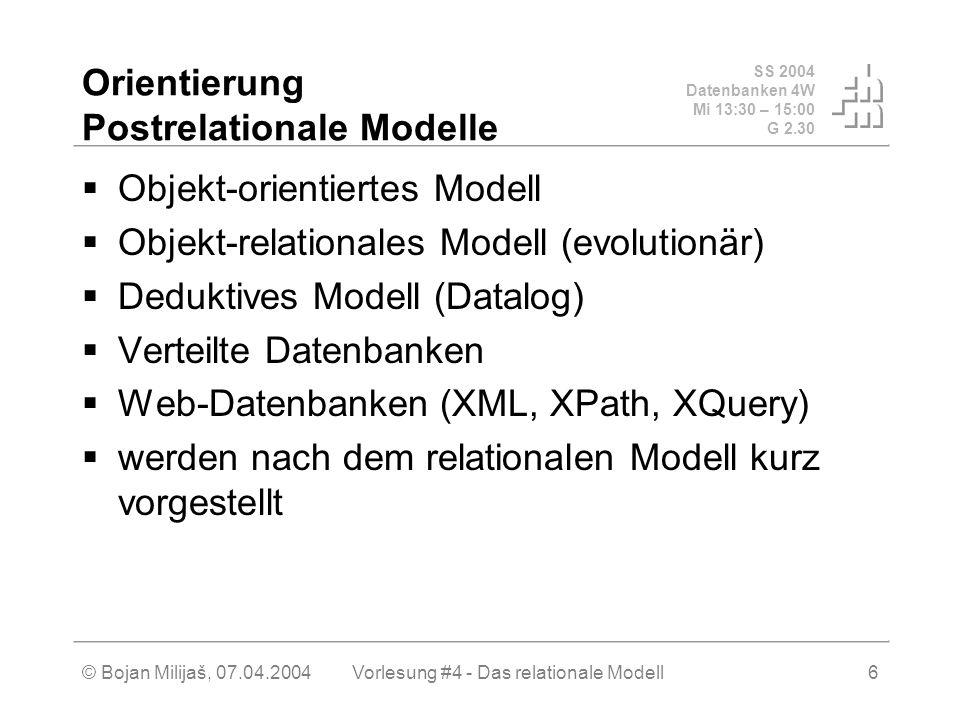 SS 2004 Datenbanken 4W Mi 13:30 – 15:00 G 2.30 © Bojan Milijaš, 07.04.2004Vorlesung #4 - Das relationale Modell6 Orientierung Postrelationale Modelle Objekt-orientiertes Modell Objekt-relationales Modell (evolutionär) Deduktives Modell (Datalog) Verteilte Datenbanken Web-Datenbanken (XML, XPath, XQuery) werden nach dem relationalen Modell kurz vorgestellt