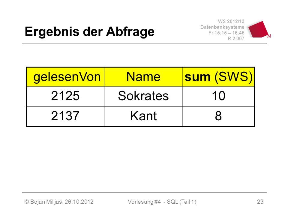 WS 2012/13 Datenbanksysteme Fr 15:15 – 16:45 R 2.007 © Bojan Milijaš, 26.10.2012Vorlesung #4 - SQL (Teil 1)23 Ergebnis der Abfrage gelesenVonNamesum (