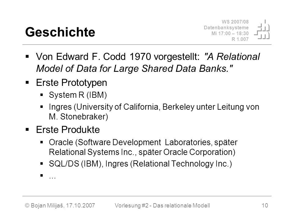 WS 2007/08 Datenbanksysteme Mi 17:00 – 18:30 R 1.007 © Bojan Milijaš, 17.10.2007Vorlesung #2 - Das relationale Modell10 Geschichte Von Edward F.