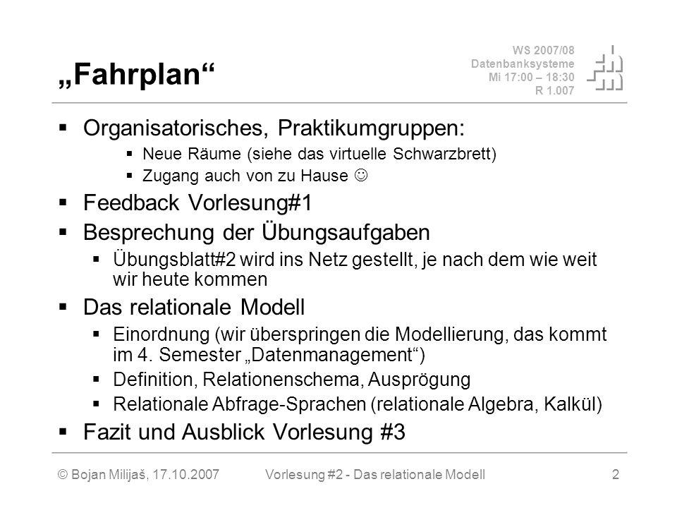 WS 2007/08 Datenbanksysteme Mi 17:00 – 18:30 R 1.007 © Bojan Milijaš, 17.10.2007Vorlesung #2 - Das relationale Modell2 Fahrplan Organisatorisches, Praktikumgruppen: Neue Räume (siehe das virtuelle Schwarzbrett) Zugang auch von zu Hause Feedback Vorlesung#1 Besprechung der Übungsaufgaben Übungsblatt#2 wird ins Netz gestellt, je nach dem wie weit wir heute kommen Das relationale Modell Einordnung (wir überspringen die Modellierung, das kommt im 4.