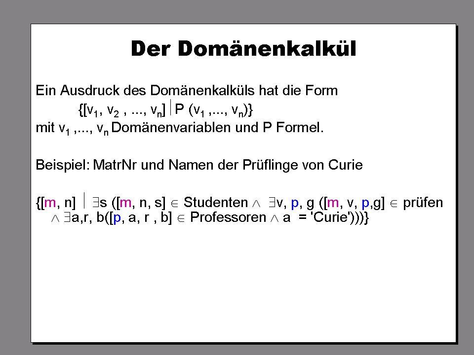 WS 2007/08 Datenbanksysteme Mi 17:00 – 18:30 R 1.007 © Bojan Milijaš, 17.10.2007Vorlesung #2 - Das relationale Modell37