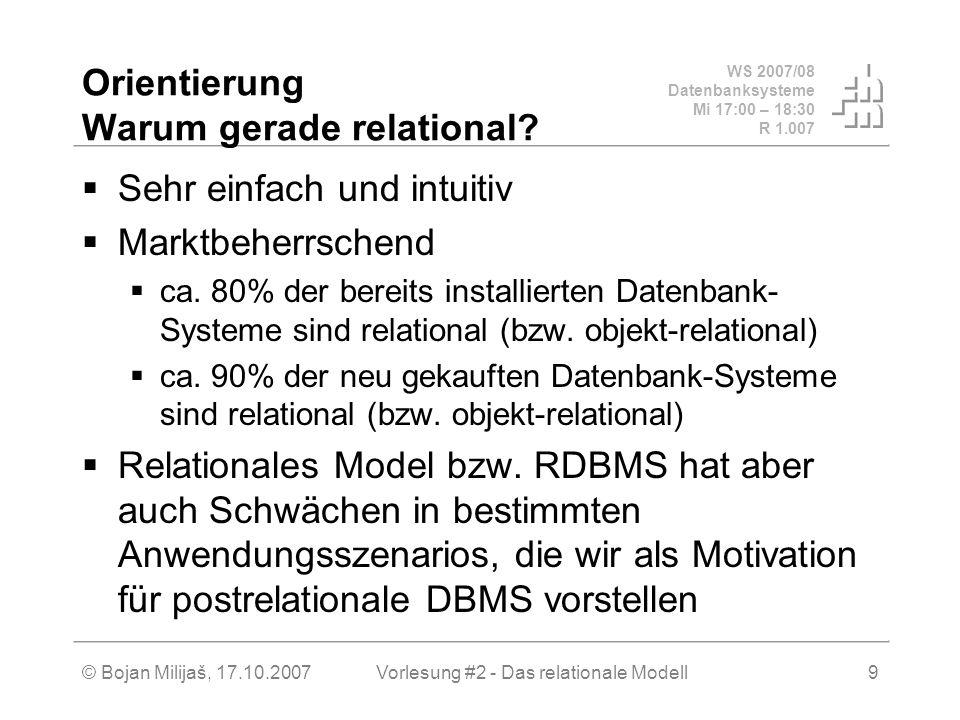 WS 2007/08 Datenbanksysteme Mi 17:00 – 18:30 R 1.007 © Bojan Milijaš, 17.10.2007Vorlesung #2 - Das relationale Modell9 Orientierung Warum gerade relational.