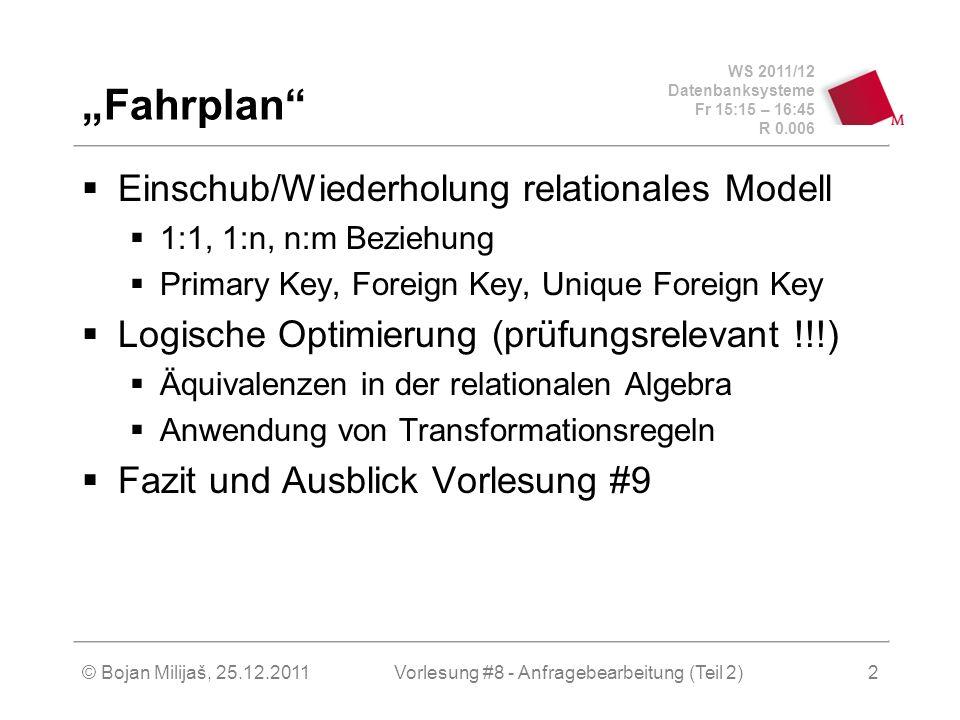 WS 2011/12 Datenbanksysteme Fr 15:15 – 16:45 R 0.006 © Bojan Milijaš, 25.12.2011Vorlesung #8 - Anfragebearbeitung (Teil 2)2 Fahrplan Einschub/Wiederholung relationales Modell 1:1, 1:n, n:m Beziehung Primary Key, Foreign Key, Unique Foreign Key Logische Optimierung (prüfungsrelevant !!!) Äquivalenzen in der relationalen Algebra Anwendung von Transformationsregeln Fazit und Ausblick Vorlesung #9