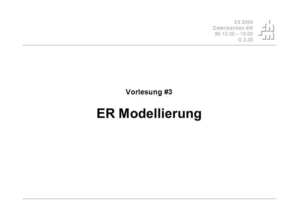 SS 2004 Datenbanken 4W Mi 13:30 – 15:00 G 2.30 Vorlesung #3 ER Modellierung