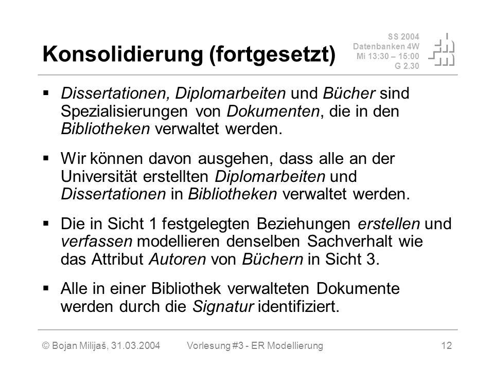 SS 2004 Datenbanken 4W Mi 13:30 – 15:00 G 2.30 © Bojan Milijaš, 31.03.2004Vorlesung #3 - ER Modellierung12 Konsolidierung (fortgesetzt) Dissertationen, Diplomarbeiten und Bücher sind Spezialisierungen von Dokumenten, die in den Bibliotheken verwaltet werden.