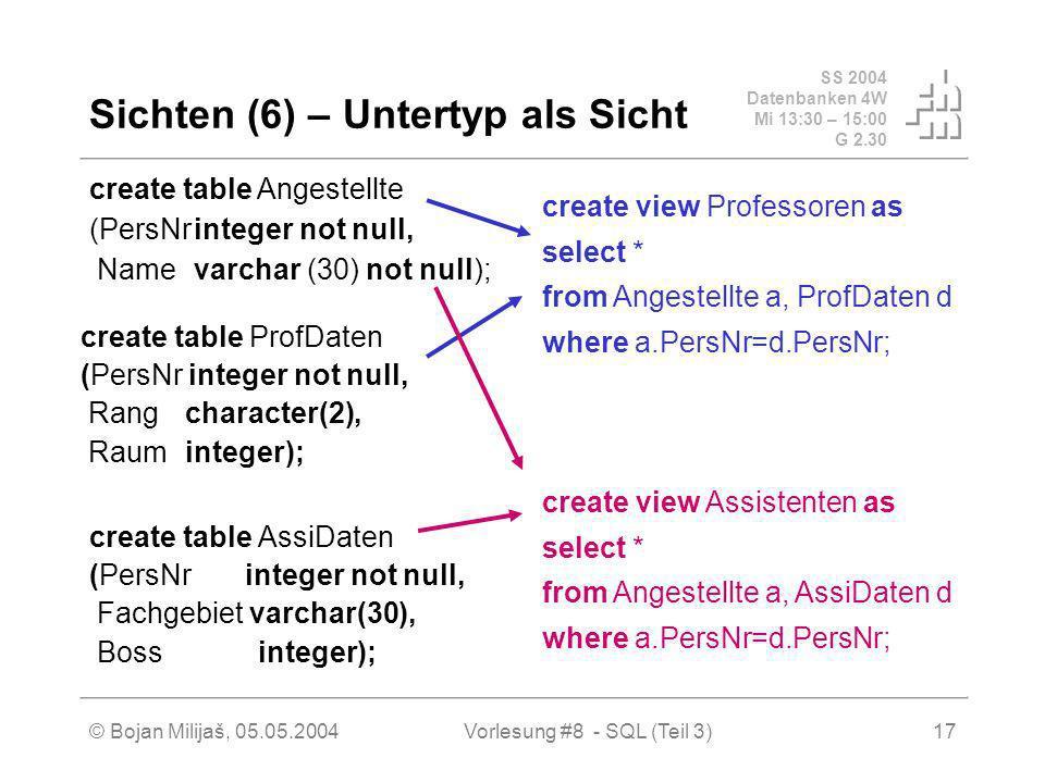 SS 2004 Datenbanken 4W Mi 13:30 – 15:00 G 2.30 © Bojan Milijaš, 05.05.2004Vorlesung #8 - SQL (Teil 3)17 Sichten (6) – Untertyp als Sicht create table